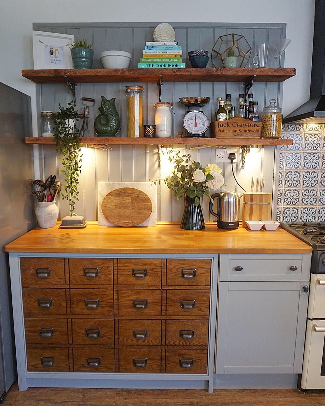 Apothecary style kitchen drawers